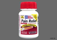 White Oblong Tablet L484 - GNP Pain Relief Extra Strength 500mg Caplet