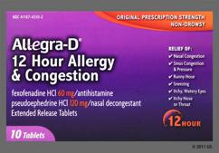 White And Tan Oblong Tablet 06/012D - Allegra-D 12 Hour Allergy & Congestion Extended-Release Tablet