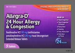 White Round Tablet 308Av - Allegra-D 24 Hour Allergy & Congestion Extended-Release Tablet
