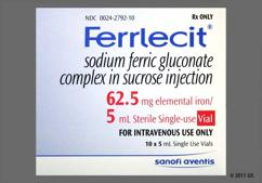 Ferrlecit Coupon - Ferrlecit 5ml of 62.5mg/5ml vial
