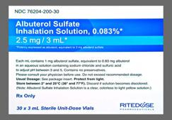yellow - Albuterol Sulfate 0.083% Solution for Inhalation