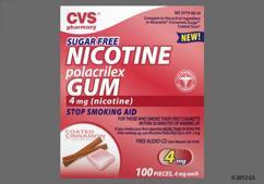 pink rectangular gum - CVS Nicotine Polacrilex 4mg Chewing Gum (Cinnamon)