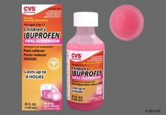pink - CVS Children's Ibuprofen 100mg/5mL Suspension (Bubblegum)