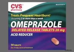 Red-Brown Oblong 20 - CVS Omeprazole Delayed-Release 20mg Tablet