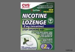 White Round Lozenge L344 - CVS Nicotine Polacrilex 2mg Lozenge (Mint)