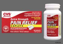 White Oblong L484 - CVS Pain Relief Extra Strength 500mg Caplet