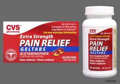 Red And Yellow Round L187 - CVS Pain Relief Extra Strength 500mg Geltab