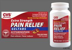 Red And Yellow Round Tablet L187 - CVS Pain Relief Extra Strength 500mg Geltab