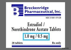 White Round Package B And 474 - Estradiol/Norethindrone Acetate 1mg-0.5mg Tablet