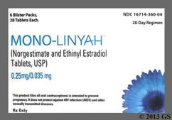 Mono-Linyah Coupon - Mono-Linyah 28 tablets of 0.25mg/0.035mg package