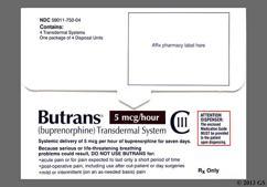 beige rectangular patch - Butrans 5mcg/hr Transdermal Patch