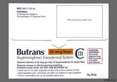 beige rectangular carton - Butrans 20mcg/hr Transdermal Patch