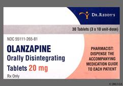 Yellow Oblong Orally Disintegrating Tab R-265 - Olanzapine 20mg Orally Disintegrating Tablet
