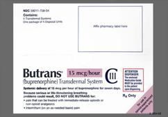 beige rectangular carton - Butrans 15mcg/hr Transdermal Patch