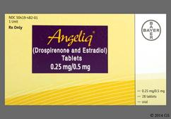 Yellow Round Package El - Angeliq 0.25mg-0.5mg Tablet