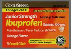 Orange Round Chewable Tablet L461 - GoodSense Junior Ibuprofen 100mg Chewable Tablet
