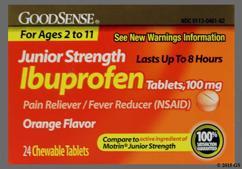 Orange Round L461 - GoodSense Junior Ibuprofen 100mg Chewable Tablet
