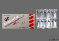 white bullet suppository - Acephen 650mg Rectal Suppository