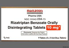 White Round L59 - Rizatriptan Benzoate 10mg Orally Disintegrating Tablet