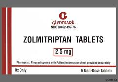 Yellow Round Dose Pack 497 - Zolmitriptan 2.5mg Tablet