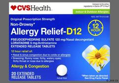 White Round Tablet 013 - CVS Allergy Relief-D 12 Hour Extended-Release Tablet