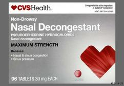 red round - CVS Nasal Decongestant Maximum Strength 30mg Tablet