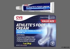 white - CVS Terbinafine Hydrochloride 1% Athletes Foot Topical Cream