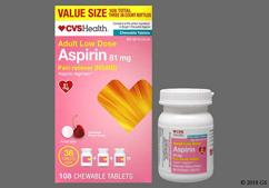 Pink Round Chewable Tablet L274 - CVS Aspirin Low Dose 81mg Chewable Tablet (Cherry)