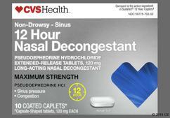 White Oblong Tablet L054 - CVS 12 Hour Nasal Decongestant 120mg Extended-Release Caplet