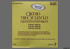 Blue Round Package 215 And O-M - Ortho Tri-Cyclen Lo 28-Day Tablet
