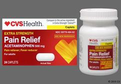 White Oblong Tablet L484 - CVS Pain Relief Extra Strength 500mg Caplet