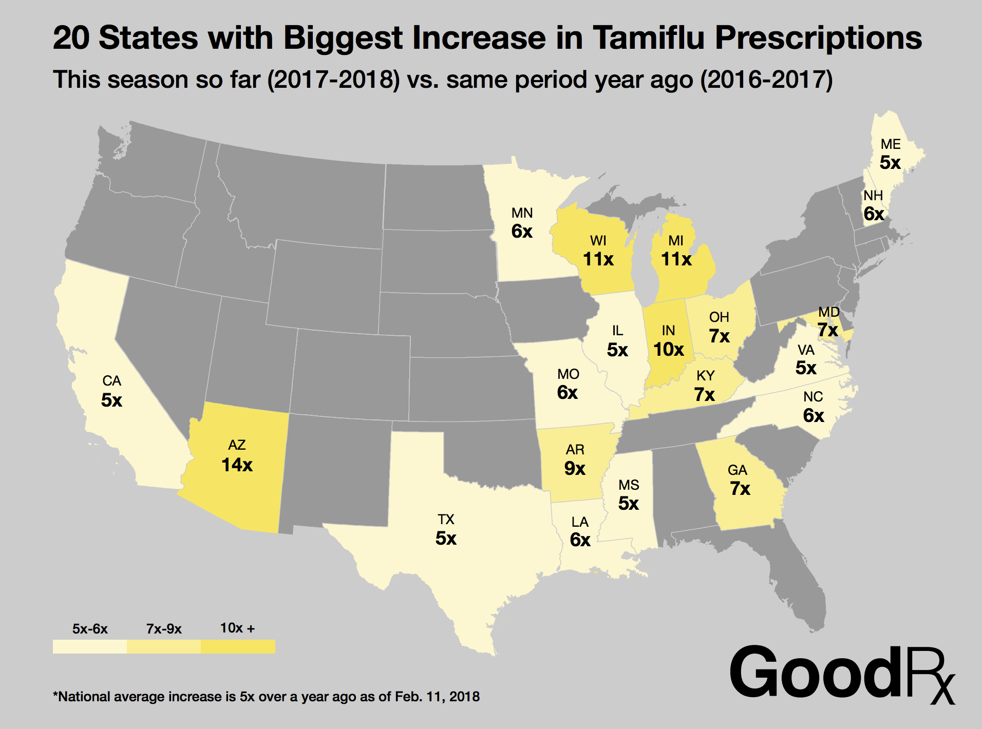 Tamiflu Prescriptions Reveal Shocking Flu Trend - GoodRx on indiana rabies map, indiana gas map, indiana district map, indiana hiv map, indiana time map, indiana lyme disease map,